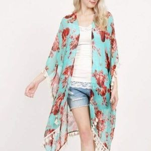 NWT FLORAL WINE & MINT SHAWL WITH ARMHOLES